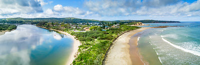 Tomakin panorama from Mossy Point taking river and beach views.  Australia