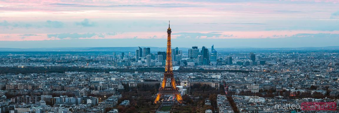 Eiffel tower and Paris skyline panoramic, France