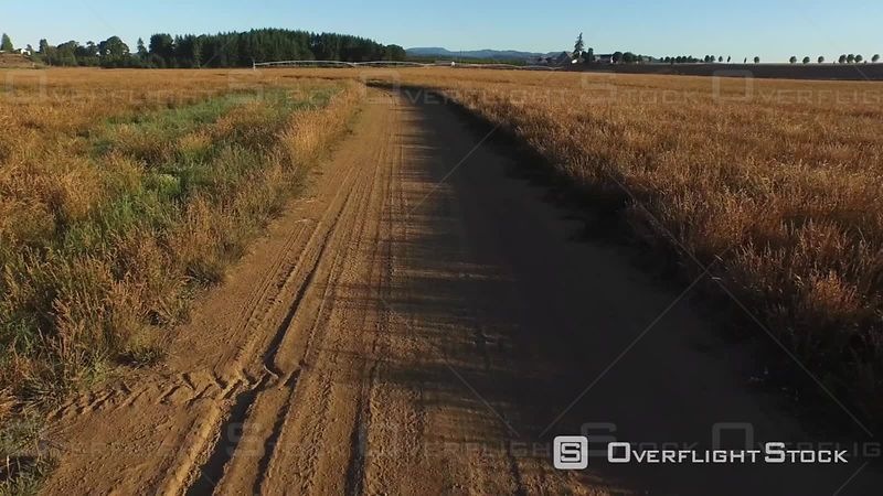 Aerial Footage of Dirt Farm Road Oregon USA