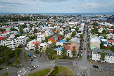 Reykjavik aerial view, photographed from Hallgrímskirkja (church), Iceland, July 2015