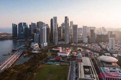 Elevated view of downtown at sunset, Singapore