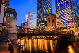 Chicago at Night at Clark Street Bridge