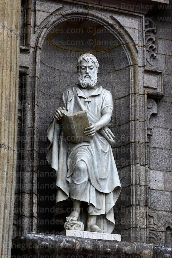 Statue of Saint Matthew on main entrance facade of cathedral, Lima, Peru