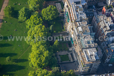 Aerial view of buildings next to Green Park, London