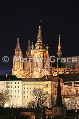 St Vitus's Cathedral (from 1344) within Prague Castle, illuminated at night, Prague, Czech Republic