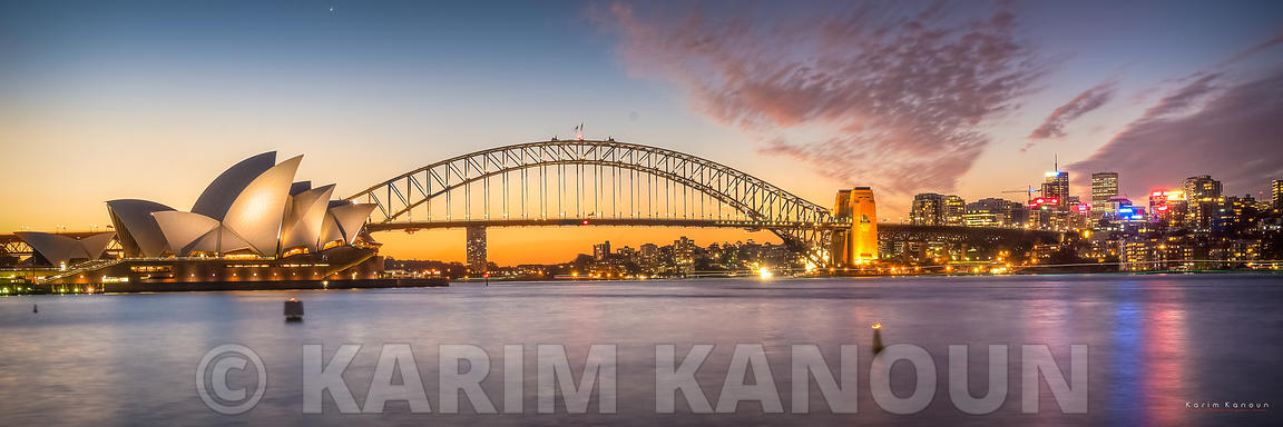 Panorama - Sydney Opera House with pinkish tint sunset