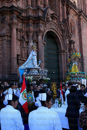 Figures of Virgen of the Immaculate Conception (left) and Belen outside cathedral , Corpus Christi festival , Plaza de Armas ...