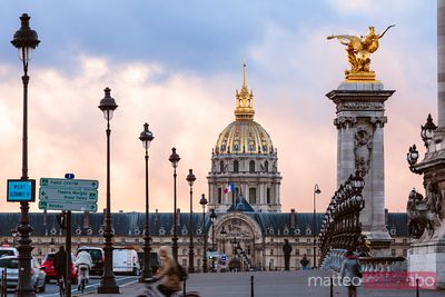Les Invalides dome and Alexander III bridge, Paris, France