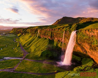 Aerial of Seljalandsfoss waterfall at sunset, Iceland