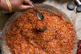 Spices for sale at a market on Inle Lake, a freshwater lake located in the Nyaungshwe Township of Taunggyi District of Shan S...