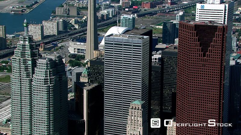 Flying past financial District buildings in Toronto, Ontario.