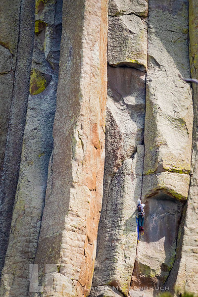 Climber on the east side of Devils Tower