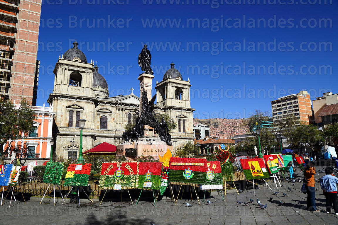 Floral tributes in colours of La Paz flag for 16th July uprising anniversary celebrations at base of the Murillo Monument, Pl...