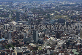 Manchester a view of the Three Towers Beetham Tower City Tower Manchester One with Piccadilly Gardens in the foreground and t...