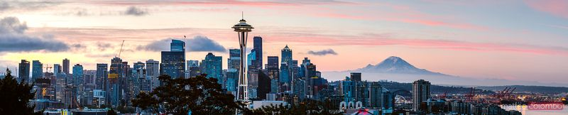 Panoramic of skyline at sunrise, Seattle, USA