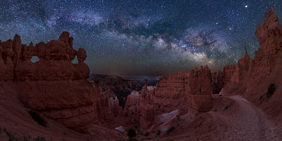 Mars and the Milky Way Rising Over Bryce Canyon