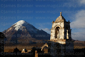 Rustic church tower near Lagunas and Sajama volcano, Sajama National Park, Bolivia