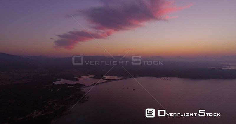 Aerial, beautiful bay in Sardinia island on sunset, 4K