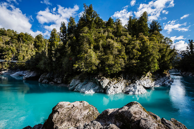 Blue colours of the Hokitika River in Hokitika Gorge - South Westland, New Zealand