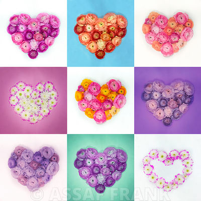 Flower heart collage