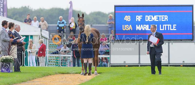 Marilyn Little and RF DEMETER - The first vets inspection (trot up),  Land Rover Burghley Horse Trials, 3rd September 2014.