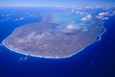 Aldabra island from the air, with inland lagoon visible, Seychelles