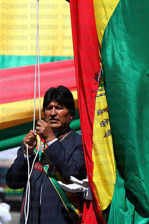 Bolivian president Evo Morales Ayma raises the national flag at start of official events for Dia del Mar / Day of the Sea , P...