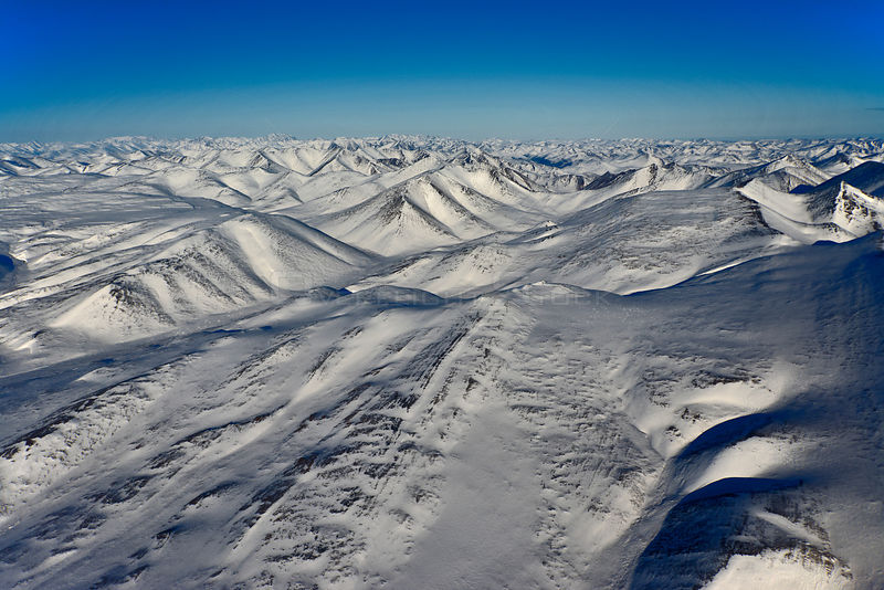 Aerial view of Brooks Range Yukon Canada