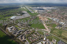 Manchester Airport view of developments taking place at the end of the runway, Moss Nook, Styal Road, Ringway Road with Manch...