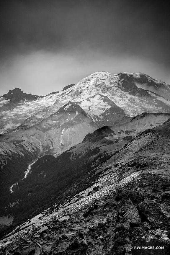 BURROUGHS MOUNTAIN TRAIL SUNRISE AREA MOUNT RAINIER WASHINGTON BLACK AND WHITE VERTICAL