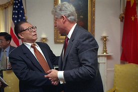 President William Clinton meets with Chinese President Jiang Zemin in New York, N.Y.