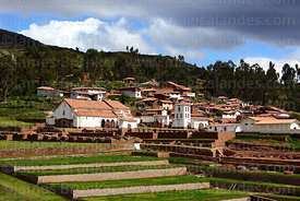 Village and Spanish colonial church built over original Inca site, Chinchero, near Cusco, Peru
