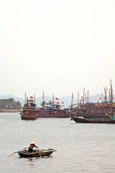 A small boat in the harbour, Ha Long Bay