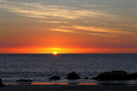 Sunset over Pacific Ocean , Llanos de Challe National Park , Region III , Chile