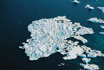 Aerial view of melting pack ice, Canadian Arctic