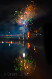 Fireworks at the culmination of the November 21 full moon puja in Pushkar, Rajasthan, India