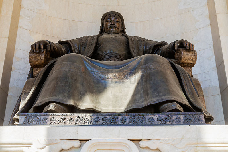 Statue of Genghis Khan (Chinggis Khaan) at the Front of the Parliament Building