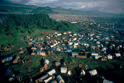 Kibumba refugee camp for Rwandan Hutu refugees. Virunga NP, Repulic of Congo, Central Africa