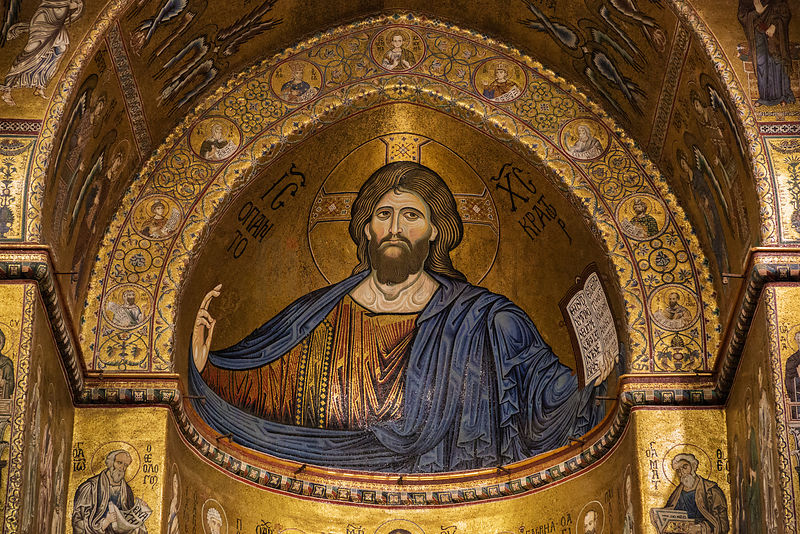 Depiction of Christ in mosaic at Monreale Cathedral