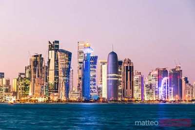Doha skyline at sunset, Qatar