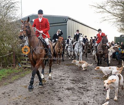 Chris Edwards leaving the meet. The Cottesmore Hunt at Launde Park Farm