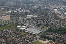 Rochdale high level aerial photograph of the Kings Way Retail Park Kings Way Rochdale road