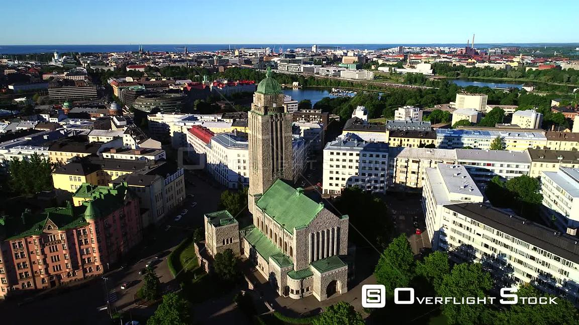 Helsinki Church, Uhd Aerial View Around the Kallio Cathedral, on a Sunny Summer Morning Dawn, in Helsingfors, Uusimaa, Finland