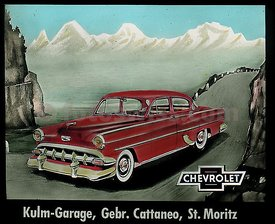 Chevrolet 1955 Collection of Glass Slides for Cinema Advertising in 1955 by Kulm Garage