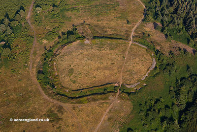 Bat's Castle Iron Age univallate hill fort aerial photograph