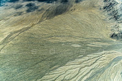 Fan Pattern of Eroded Alluvium Forms at the Valley Edge in the Nevada Desert
