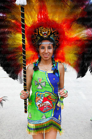 Beautiful girl tobas dancer, Oruro Carnival, Bolivia