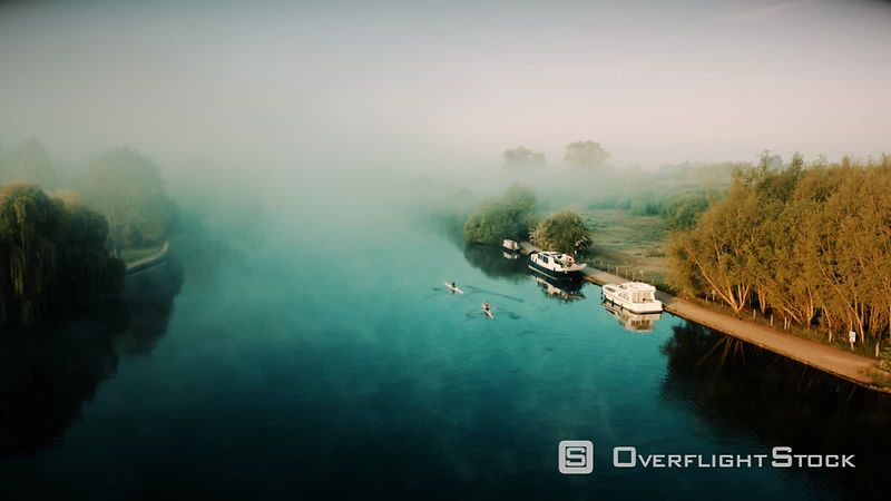 Rowing, Thames River in Marlow, filmed by drone