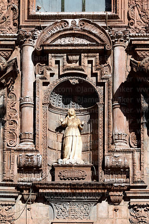 Detail of figure above entrance of Compañia de Jesus Jesuit church, Cusco, Peru
