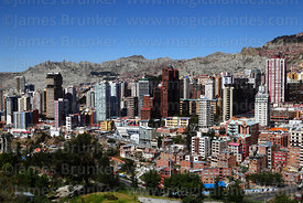 View of high rise buildings in Sopocachi district, La Paz, Bolivia